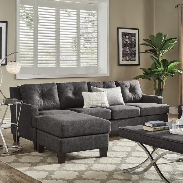 Elston Dark Grey Linen Extra Long Sofa And Ottoman By INSPIRE Q Modern