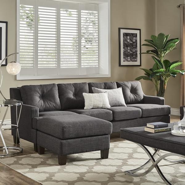 Elston Dark Grey Linen Extra Long Sofa And Ottoman By Inspire Q Modern