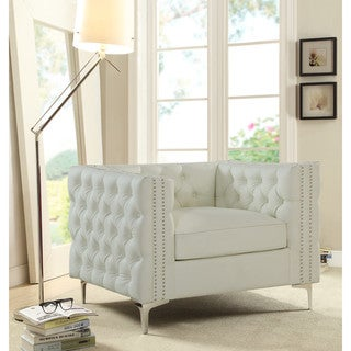Link to Chic Home Monet Accent Club Chair PU Leather Button Tufted with Silver Nail Head Trim Similar Items in Arm Chairs