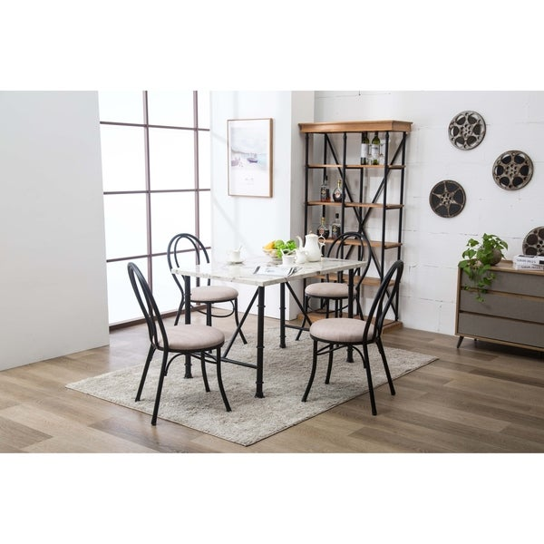Shop Anders 5 Pc Contemporary Upholstered Faux Marble Dining Room