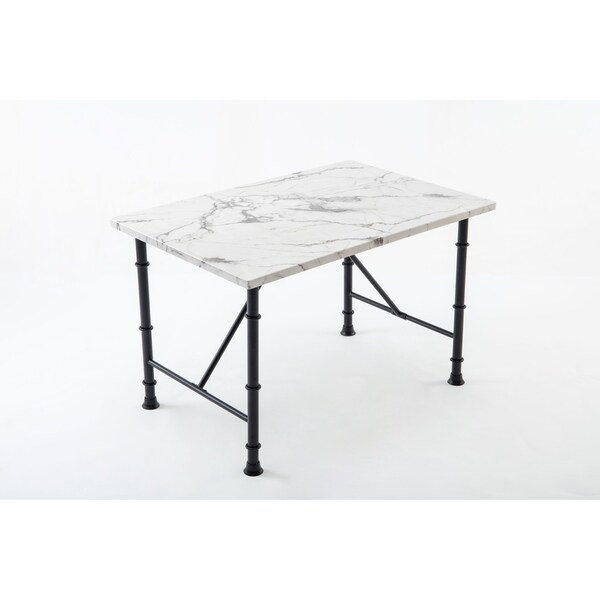 Shop Anders Contemporary Faux Marble Metal Dining Room