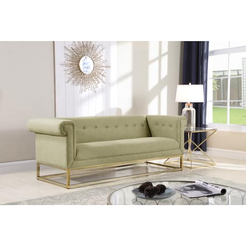 Chic Home Gloria Sofa Button Tufted Linen-Textured Plush Cushion Brass Finished Brushed Metal Base Frame