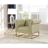 Chic Home Gloria Accent Club Chair Button Tufted Linen-Textured Plush Cushion Brass Finished Brushed Metal Base Frame