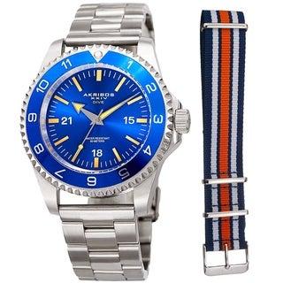 Akribos XXIV Men's Diver Style Quartz Interchangeable Blue Silver-Tone Bracelet Watch