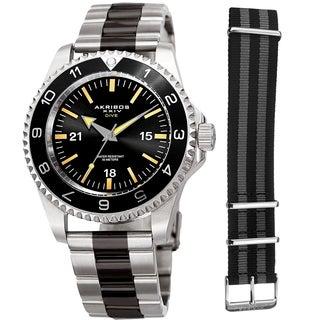 Akribos XXIV Men's Diver Style Quartz Interchangeable Black Silver-Tone Bracelet Watch