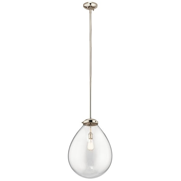 Kichler Lighting Claudia Collection 1-light Polished Nickel Pendant