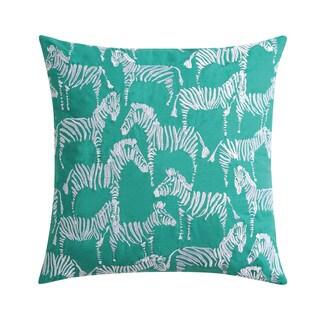 Christian Siriano Tropicalia Square Green Zebra Throw Pillow