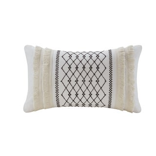The Curated Nomad Clementina Ivory Embroidered Cotton Oblong Throw Pillow with Tassels