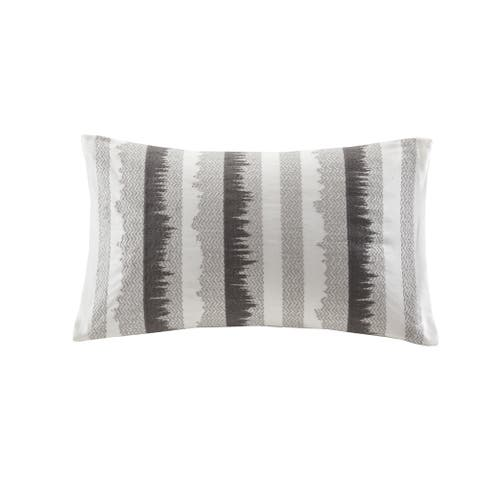 INK+IVY Chet Grey Embroidered Cotton Oblong Throw Pillow with Zipper Closure