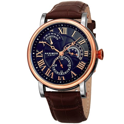 Akribos XXIV Men's Date Alligator Embossed Classic Blue Brown Leather Strap Watch