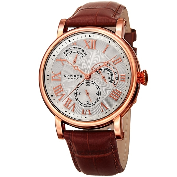 Akribos XXIV Men's Date Alligator Embossed Classic Brown Leather Strap Watch