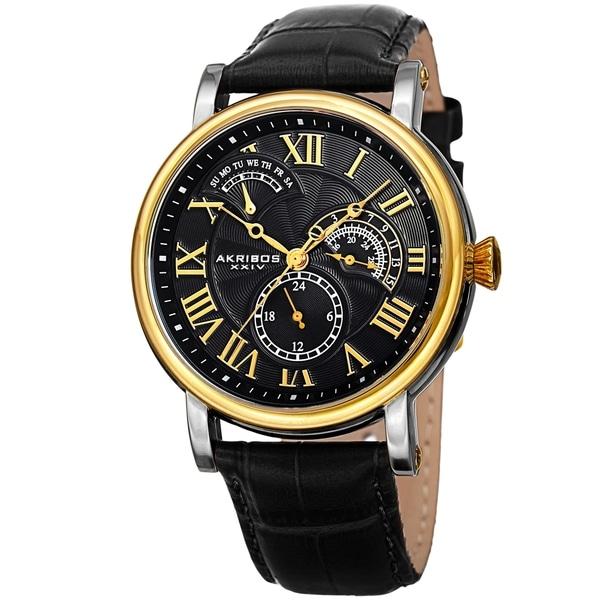 Akribos XXIV Men's Date Alligator Embossed Classic Black Leather Strap Watch