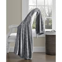 Super Soft Scallop Design-Sherpa Reverse Plush Throw