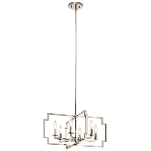Kichler Lighting Downtown Deco Collection 6-light Polished Nickel Chandelier/Semi-Flush Mount