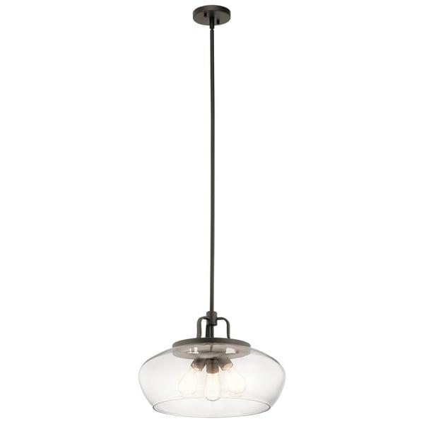 Kichler Lighting Davenport Collection 3-light Olde Bronze Pendant/Semi-Flush Mount