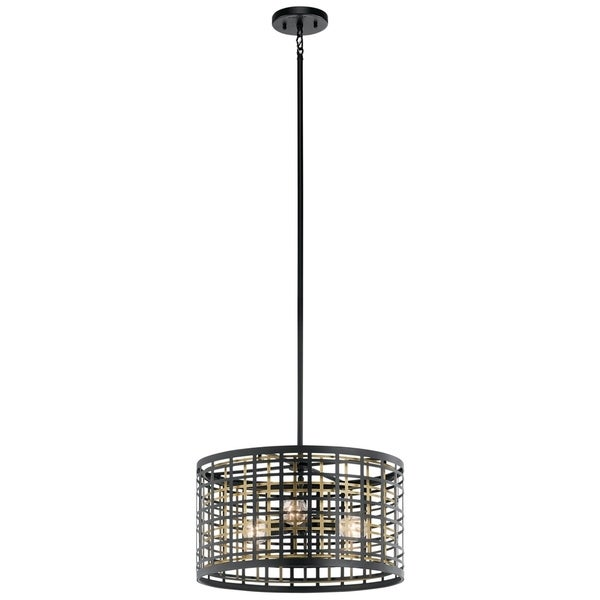 Kichler Lighting Aldergate Collection 3-light Black Pendant/Semi-Flush Mount