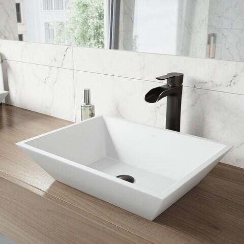 VIGO Vinca Matte Stone Vessel Bathroom Sink Set With Niko Antique Rubbed Bronze Vessel Faucet