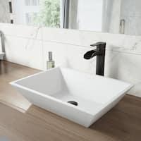 VIGO Vinca Matte Stone Vessel Bathroom Sink and Niko Vessel Faucet Set