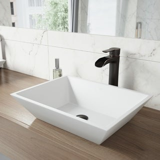 VIGO Vinca Matte Stone Vessel Bathroom Sink Set With Niko Antique Rubbed Bronze Vessel Faucet