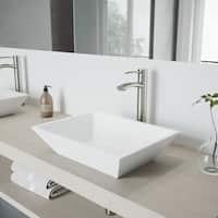 VIGO Vinca Matte Stone Vessel Bathroom Sink and Milo Vessel Faucet Set