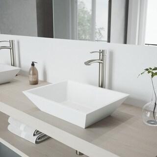 VIGO Vinca Matte Stone Vessel Bathroom Sink Set With Milo Brushed Nickel Vessel Faucet