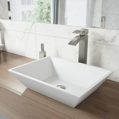 VIGO Vinca Matte Stone Vessel Bathroom Sink and Duris Vessel Faucet