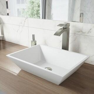 VIGO Vinca Matte Stone Vessel Bathroom Sink Set With Duris Brushed Nickel Vessel Faucet