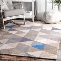 nuLoom Dimentional Triangles Grey/Blue/Beige Wool Handmade Rug - 6' x 9'
