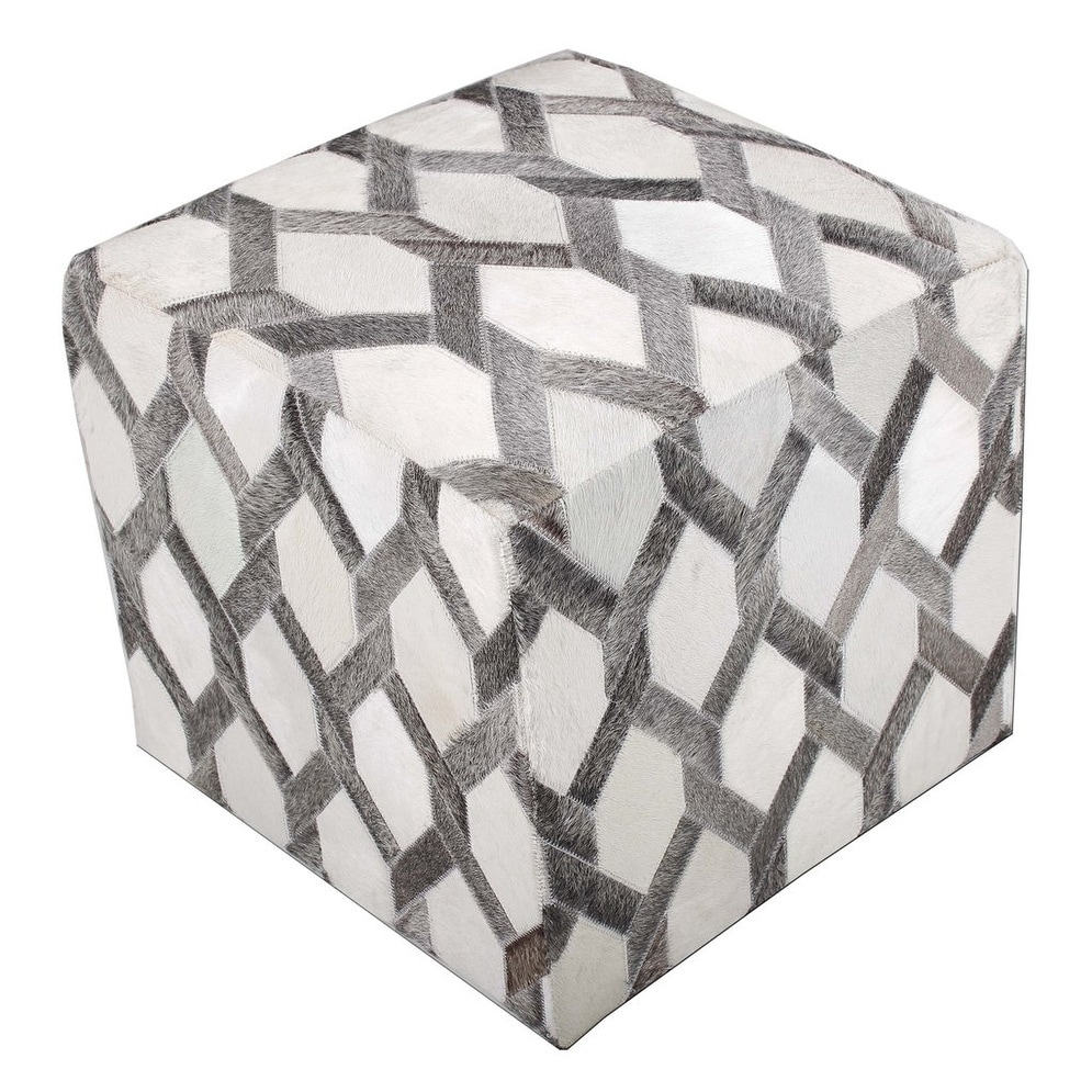 Astounding Grey Ottoman Cowhide Cube Real Hair On Hide Leather 18X18 Theyellowbook Wood Chair Design Ideas Theyellowbookinfo