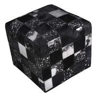 """Black Ottoman Cowhide Cube Real Hair-on Hide Leather 18""""X18"""""""