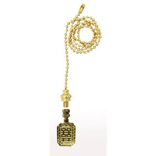 Royal Designs Fan Pull Chain with Chinese Joy Symbol Finial Polished Brass