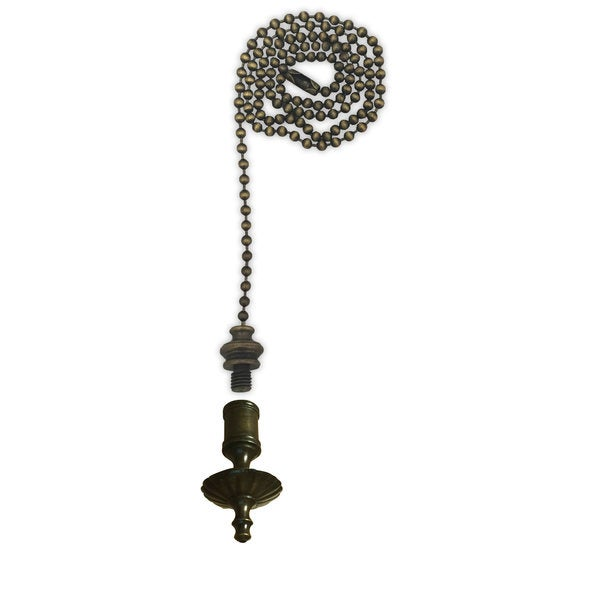 Royal Designs Fan Pull Chain with Umbrella Finial Antique Brass