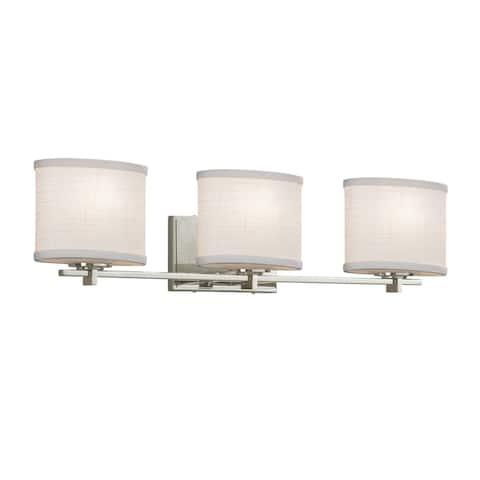 Justice Design Textile Era 3-light Brushed Nickel Bath Light, White Oval Shade