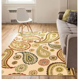 Well Woven Modern Paisley Ivory Area Rug - 5' x 7'