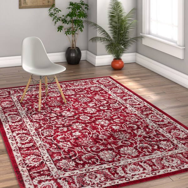Well Woven Traditional Vintage Oriental Red Area Rug - 7'10 x 9'10