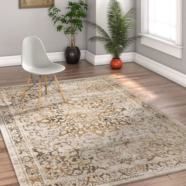Well Woven Traditional Vintage Medallion Gold Area Rug - 7'10 x 9'10