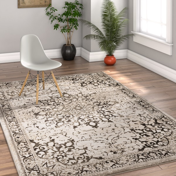 Well Woven Traditional Vintage Medallion Grey Area Rug - 7'10 x 9'10