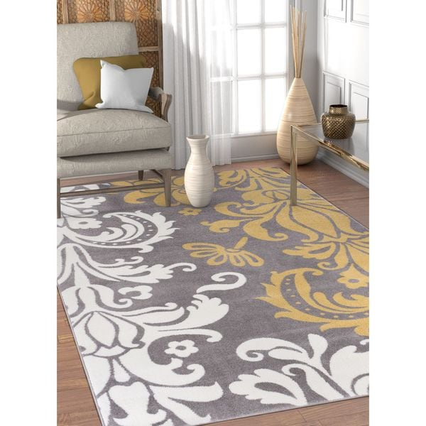 Well Woven Modern Damask Abstract Gold Area Rug - 7'10 x 9'10