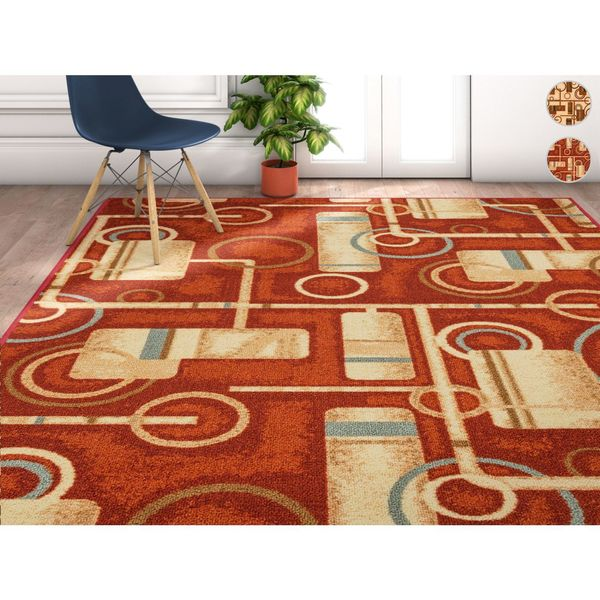 Well Woven Modern Oriental Red Natural Area Rug - 7'10 x 9'10