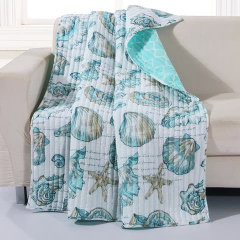 Barefoot Bungalow Cruz Coastal Quilted Throw Blanket, 50x60-inch