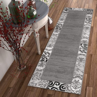 Well Woven Modern Damask Grey Runner Rug - 2' x 7'3