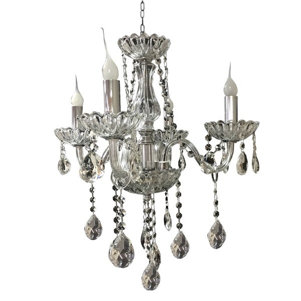"Royal Designs Vintage Style Crystal Chandelier 4 Arm - 23"" H x 20"" W"