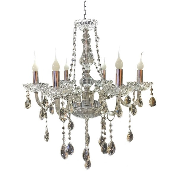 "Royal Designs Vintage Style Crystal Chandelier 6 Arm- 29"" H x 24"" W"