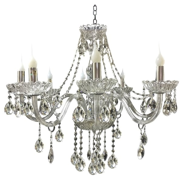 "Royal Designs Vintage Style Crystal Chandelier 8 Arm- 26"" H x 29"" W"
