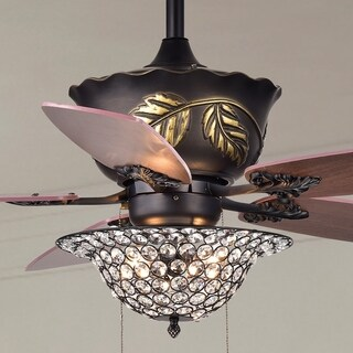 Collins 52-Inch 5-Blade Ceiling Fan Crystal Bowl - Brown