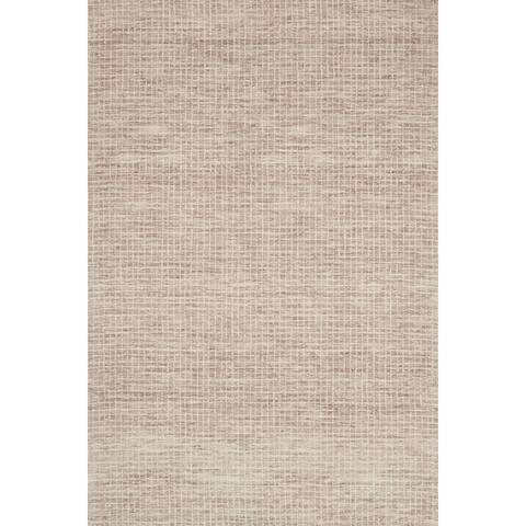 Hand-hooked Transitional Earth-tone Mosaic Tile Rug
