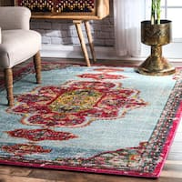 nuLoom Royal Cartouche Pink Traditional Medallion Rug (5'3 x 7'7)