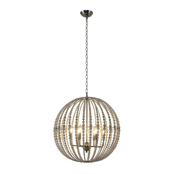 Lumiere Perlee White Metal and Wood 6-light Cage Chandelier
