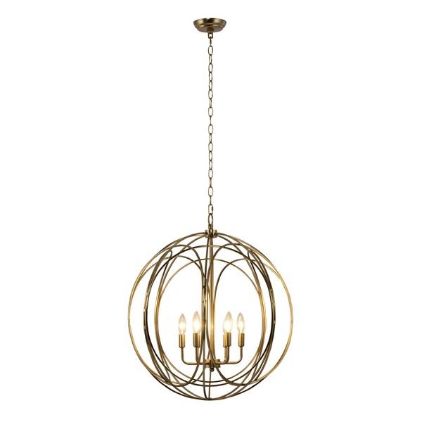 Yosemite Home Decor Satin Brass Metal/Stainless Steel Globe 6-light Chandelier