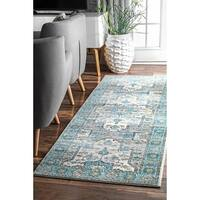 The Curated Nomad Rodriguez Bohemian Crux Light Blue Runner Rug